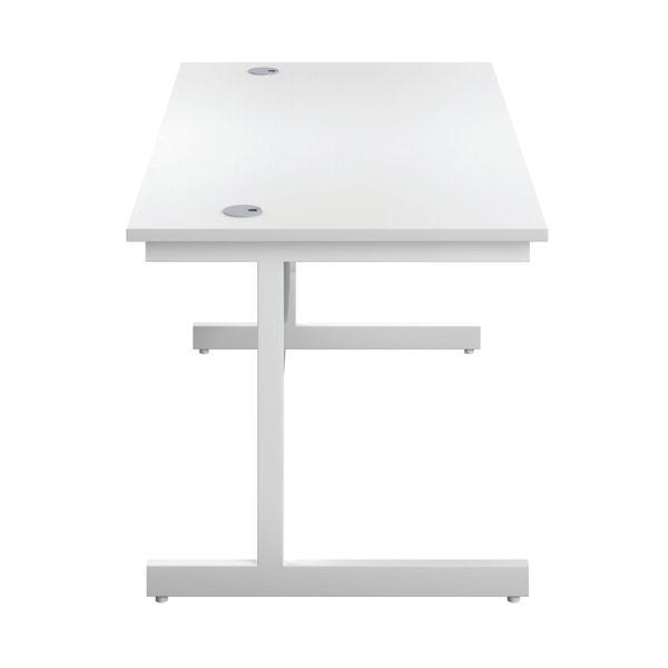 First 1600mm White/White Single Rectangular Desk