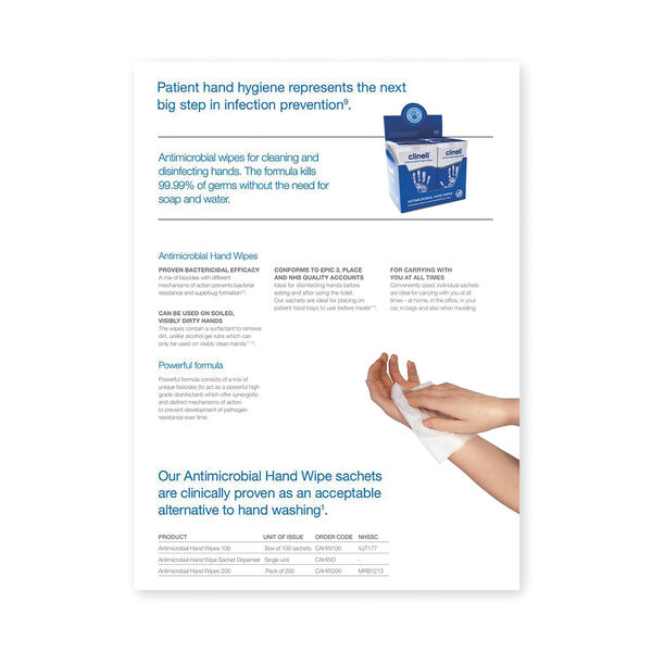 Clinell Individually Wrapped Antibacterial Hand Wipe NHS Approved (Pack of 100) GCAHW100