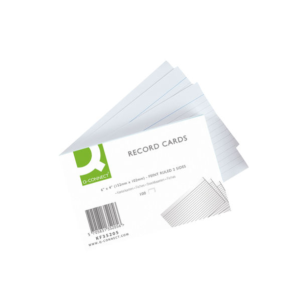Q-Connect White 6 x 4 Inches Record Cards, Pack of 100 - KF35205