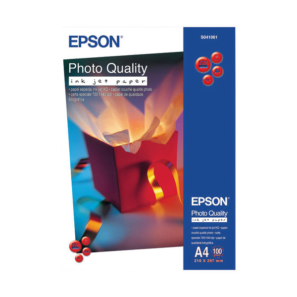 Epson A4 Photo Quality Paper, 102gsm, Pack of 100 - C13S041061