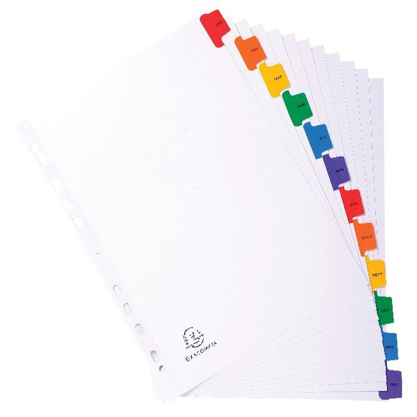 Guildhall White A4 Jan-Dec 12 Part Coloured Tabs Mylar Index, Pack of 20 - 1113E