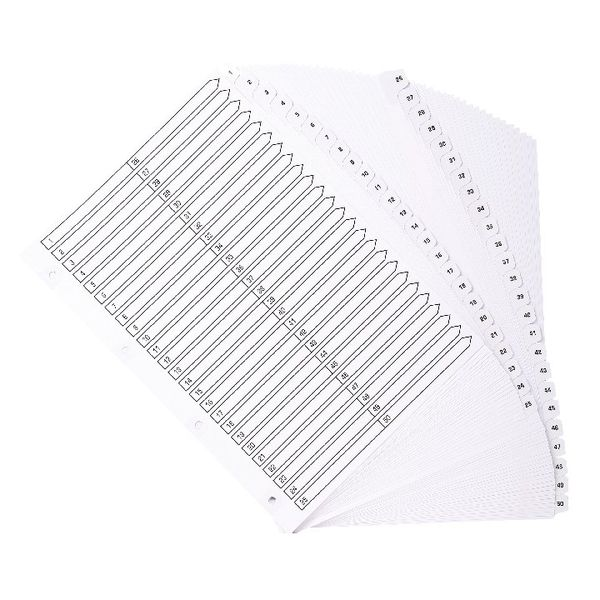 Guildhall White A4 1-50 Mylar Index, Pack of 4 - MWD1-50Z