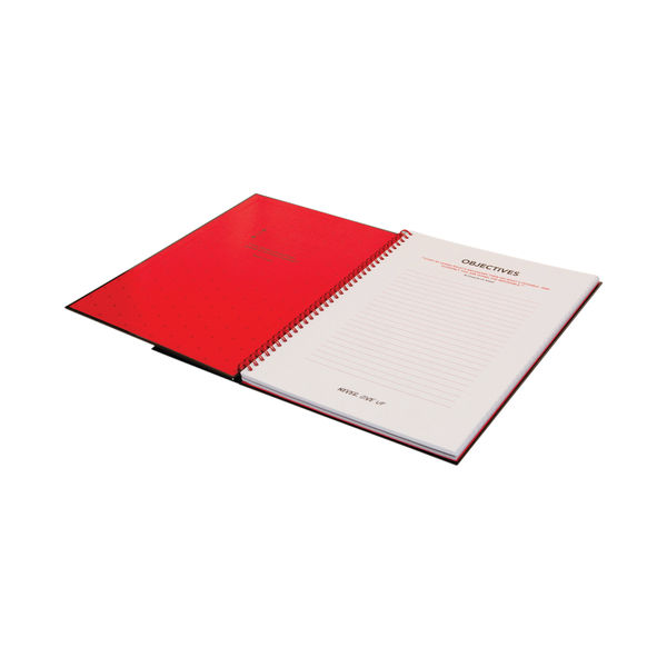 Black n' Red Ruled Perforated Wirebound Hardback Notebook A5 (Pack of 5) 846350112