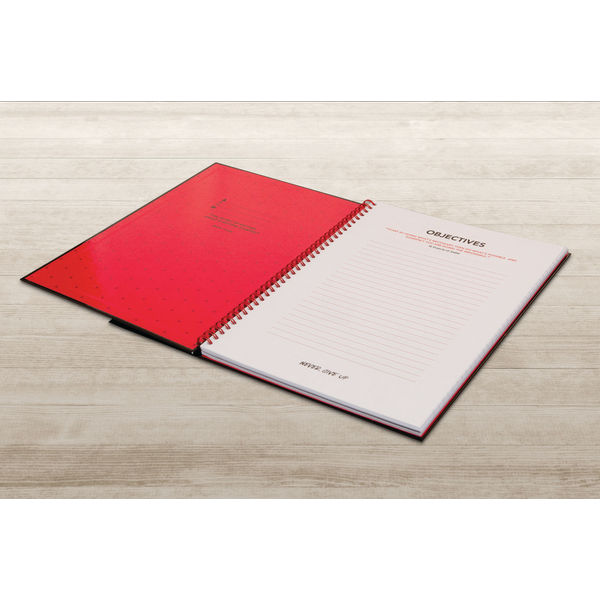 Black n Red A4 Wirebound Recycled Hardback Notebooks, Pack of 5 - H67023