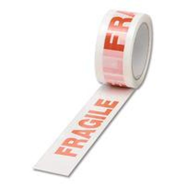 (White and Red) Fragile Packaging Tape, 50mm x 66m - Pack of 6 - 70581502