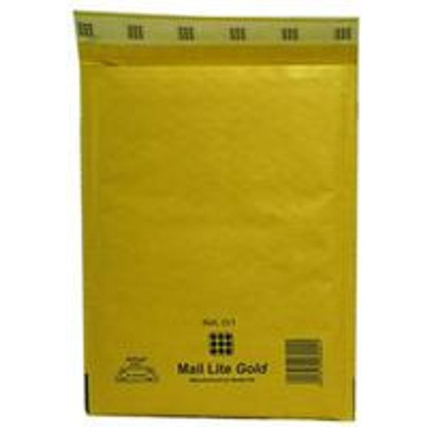 Mail Lite G/4 Bubble Envelope in Gold - MLDG/1 - 240mmx330mm - Pack of 50