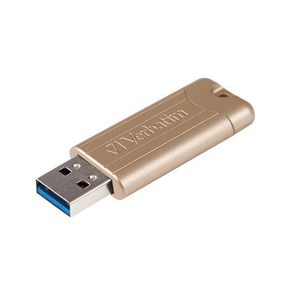 Verbatim USB 3.0 64GB Pinstripe Gold 48010