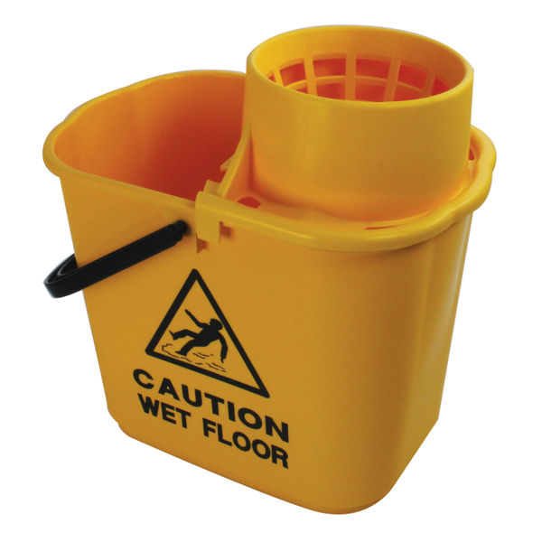 2Work Plastic Mop Bucket, Yellow, 15 Litre | 102946YL