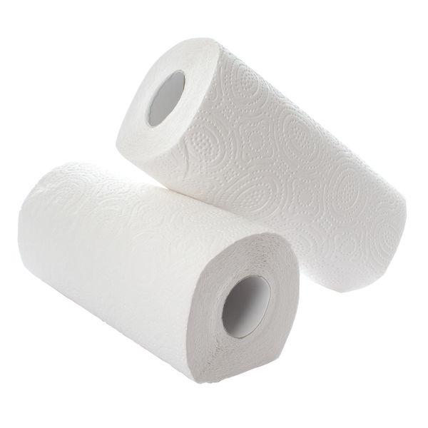 2Work Kitchen Roll x 12, White, Pack of 2 - KTW42