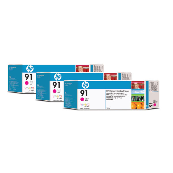 HP 91 Magenta Inkjet Cartridges (3 Pack) 775ml each | C9484A
