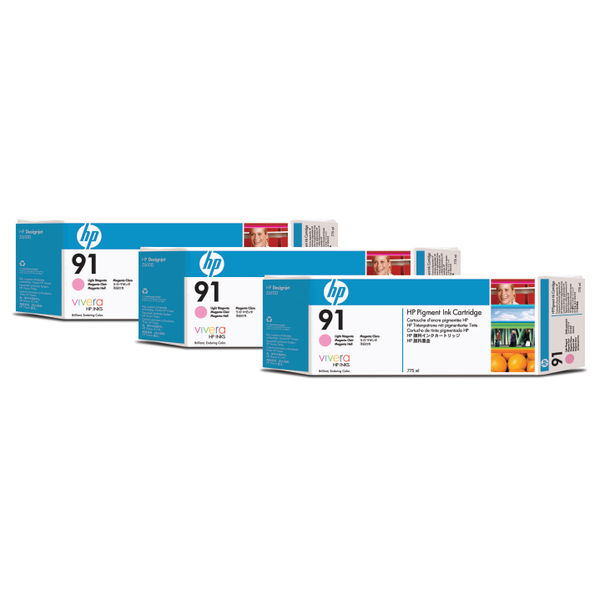 HP 91 Light Magenta Inkjet Cartridges (3 Pack) | C9487A