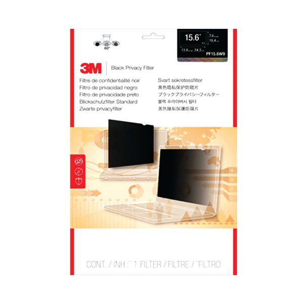 3M Black Privacy Filter for Laptops 15.6in Widescreen - PF15.6W9