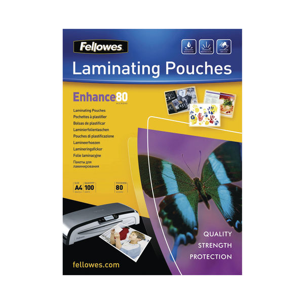 Fellowes A4 Enhance Matte Laminating Pouches, Pack of 100 | 5452101