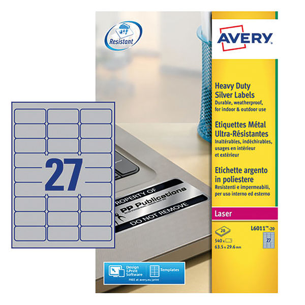 Avery Heavy Duty Address Labels 63.5 x 29.6mm Silver (Pack of 540) - L6011-20