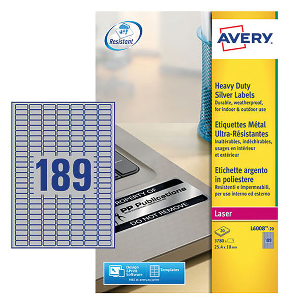 Avery Heavy Duty Silver Address Labels 25.4 x 10mm (Pack of 3780) - L6008-20