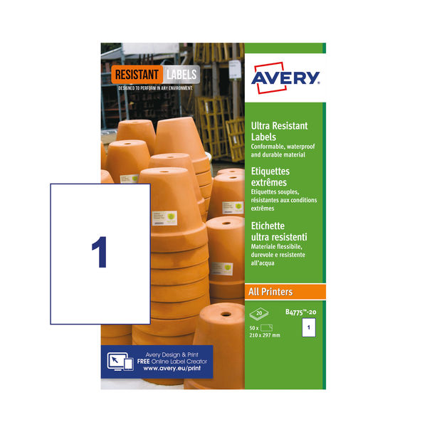 Avery Ultra Resistant Labels 210x297mm (Pack of 20) B4775-20