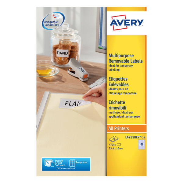 Avery Removeable Laser Labels White 189 Labels/Sheet Pack25 | L4731REV-25