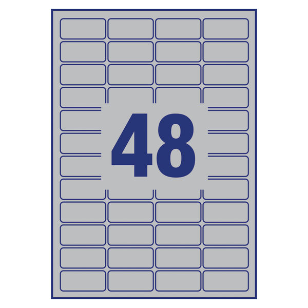 Avery Heavy Duty Silver Address Labels 45.7 x 21.2mm (Pack of 960) – L6009-20