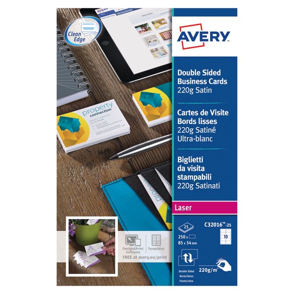 Avery Satin White 85 x 54mm 220gsm Laser Business Cards, Pack of 250 | C32016-25