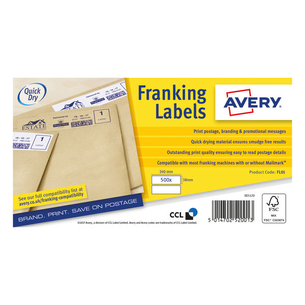 Avery White 140 x 38mm Franking Labels, Pack of 1000   FL01