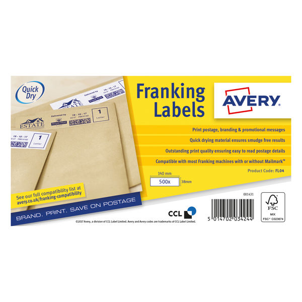 Avery White 140 x 38mm Franking Labels, Pack of 1000   FL04