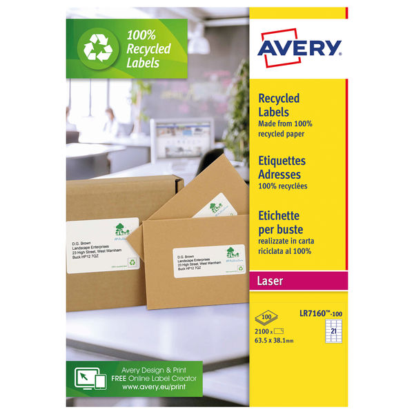 Avery White Recycled Laser Labels, Pack of 2100 | LR7160-100