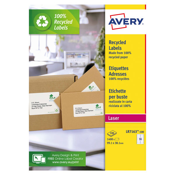 Avery White Recycled Laser Labels, Pack of 1400 | LR7163-100