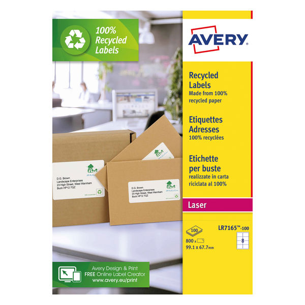 Avery White Recycled Laser Labels, Pack of 800 | LR7165-100