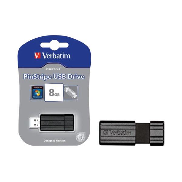 Verbatim PinStripe Black 8Gb USB Drive - 49062