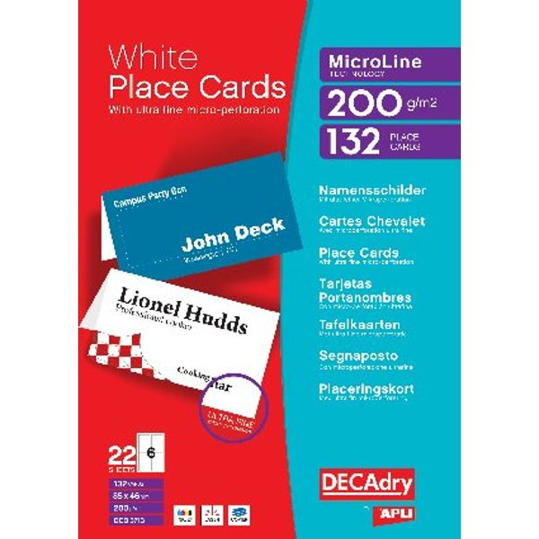 Decadry 85 x 46mm White Place Cards, 200gsm, Pack of 132 - DPOCB3713