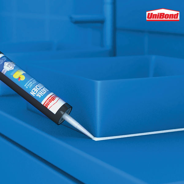 UniBond Bathroom and Kitchen Sealant Cartridge White 280ml 2652145