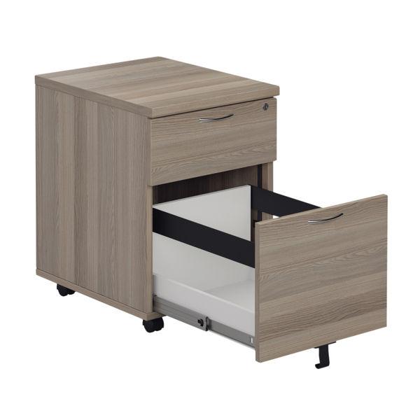 Jemini Grey Oak 2 Drawer Mobile Pedestal