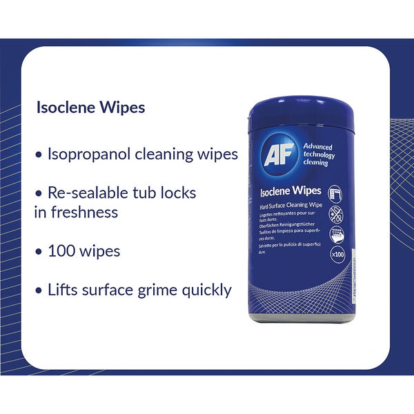 AF Isoclene Wipes Tub, Pack of 100 - AISW100