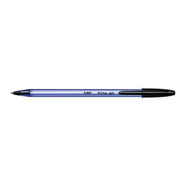 BIC Cristal Soft Black Medium Ballpoint Pens, Pack of 50 - 918518