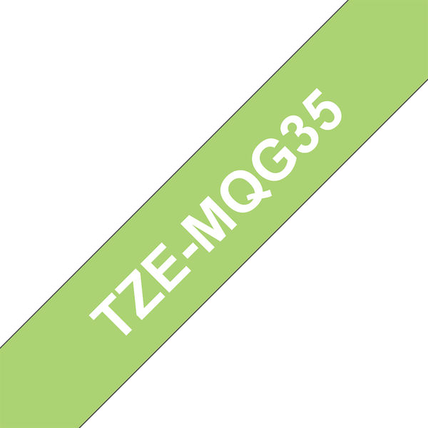 Brother TZe P-Touch Labelling Tape 12mm x 5m White on L/Green TZEMQG35
