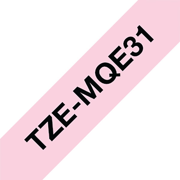 Brother TZe P-Touch Labelling Tape 12mm x 4m Black on P/Pink TZEMQE31