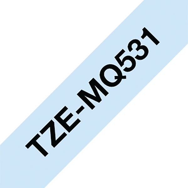 Brother TZe P-Touch Labelling Tape 12mm Black on Pastel Blue TZEMQ531