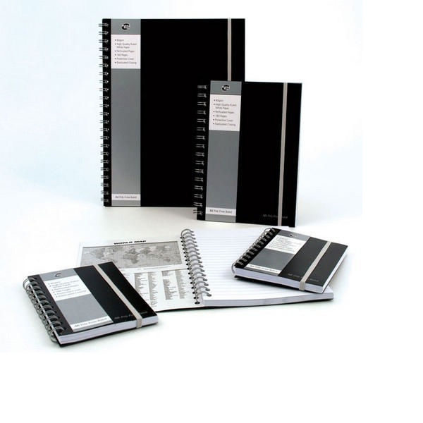 Pukka Pad A4 Black Polypropylene Jotta Notebook, 160 Pages, Pack of 3 - PP00717