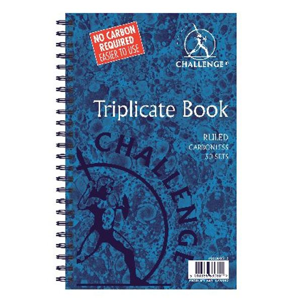 Challenge Carbonless Triplicate Ruled Book, 50 Slips (Pack of 5) - K63080
