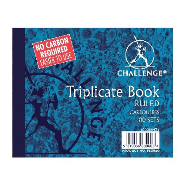 Challenge Carbonless Triplicate Ruled Book, 100 Slips (Pack of 5) - F63060