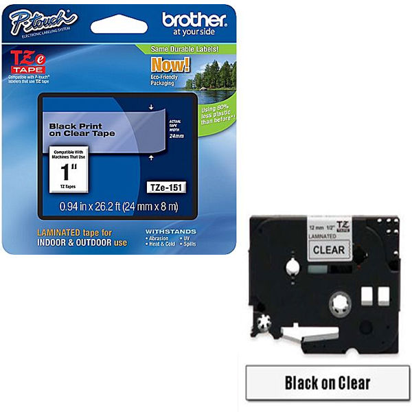 Brother TZe-151 P-Touch Label Tape Black on Clear - TZ151