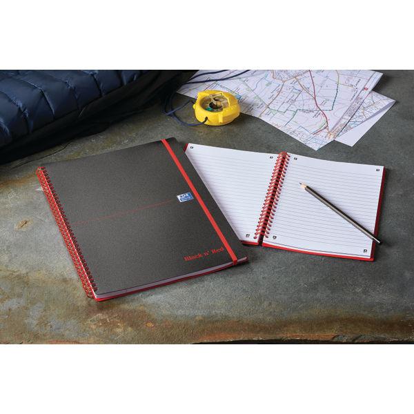 Black n Red A4 Polypropylene Notebooks - Pack of 5 - 846350111