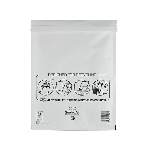 Sealed Air Bubble Postal Bags Self Seal 240x330mm White Pack of 50 MLW G/4