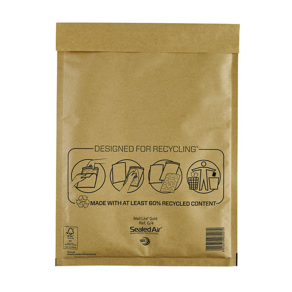 MailLite BL Mailer Bags 240x330mm Gold Pack of 50 MLGG/4