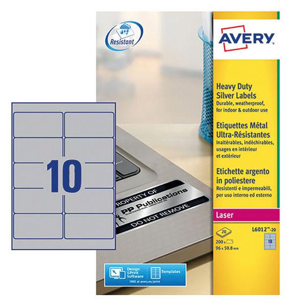 Avery Silver 96 x 50.8mm Heavy Duty Laser Labels, Pack of 200 - L6012-20