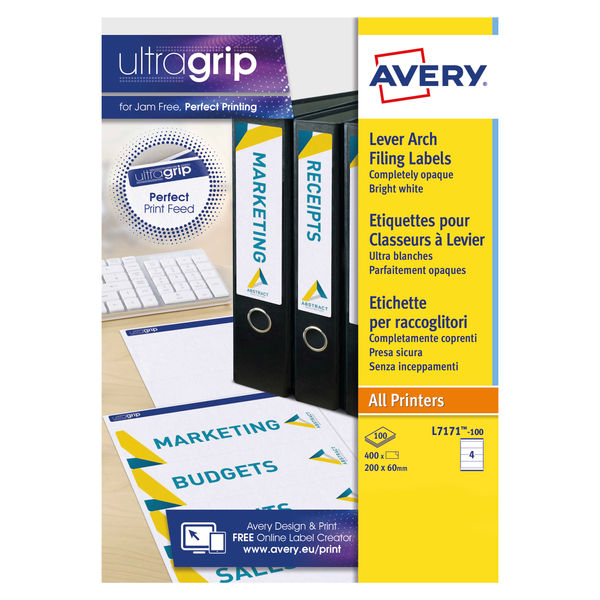 Avery Laser/Inkjet Labels (Lever Arch) 4 Labels Per Sheet (100 Sheets)   Avery L7171