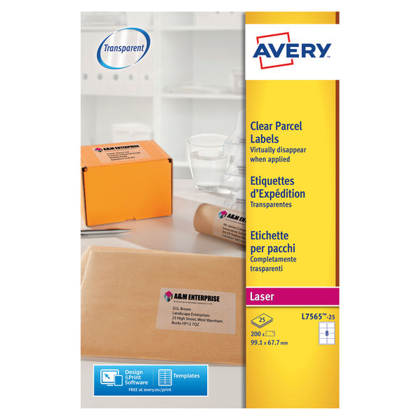 Avery Clear 99.1 x 67.7mm Parcel Laser Labels, Pack of 200 | L7565-25