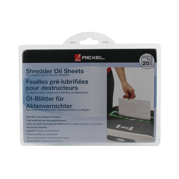 Rexel Non-Auto Oil Shredder Sheets, Pack of 20 | 2101949