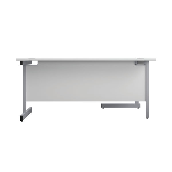 First 1800mm White/Silver Left Hand Radial Desk