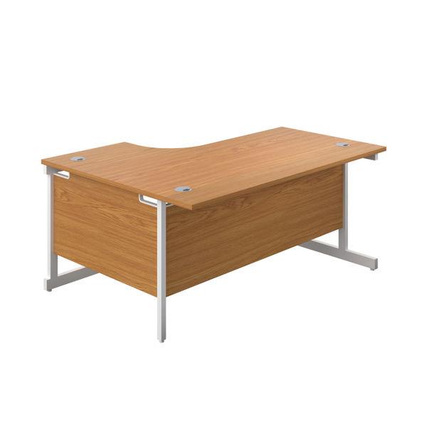First 1600mm Nova Oak/White Right Hand Radial Desk